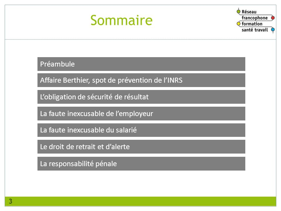 Sommaire Préambule Affaire Berthier, spot de prévention de l'INRS