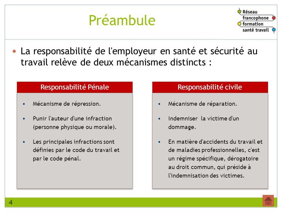Préambule La responsabilité de l employeur en santé et sécurité au travail relève de deux mécanismes distincts :
