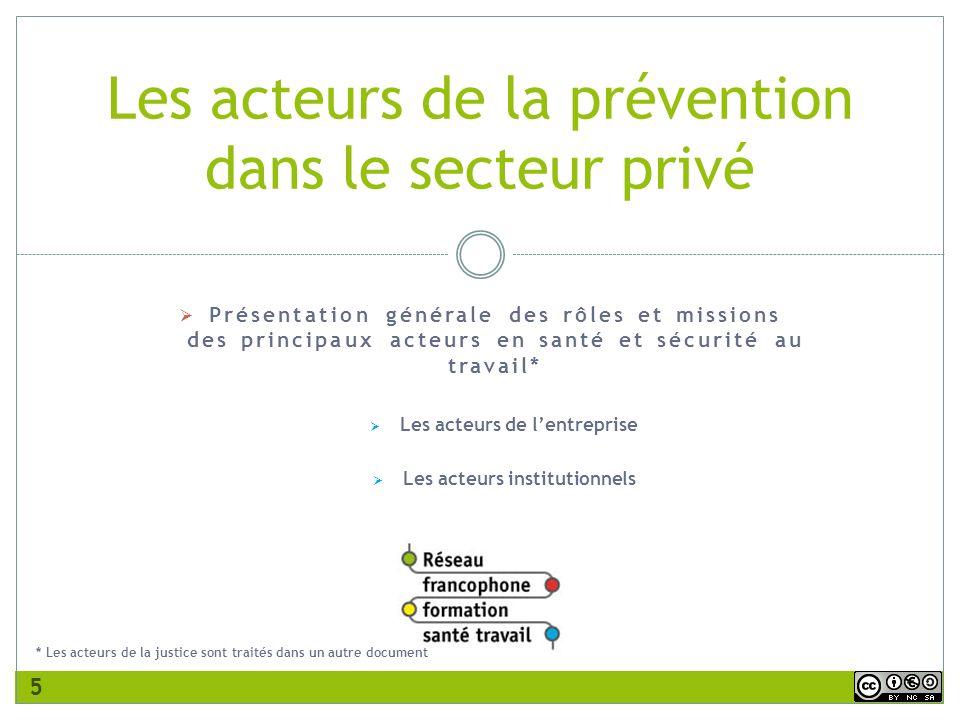 Les acteurs de la prévention dans le secteur privé