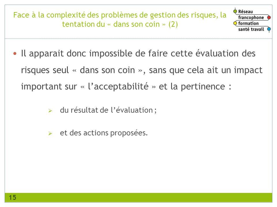 Face à la complexité des problèmes de gestion des risques, la tentation du « dans son coin » (2)