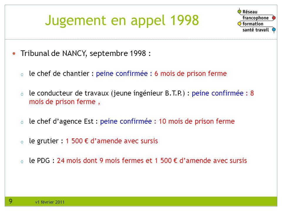 Jugement en appel 1998 Tribunal de NANCY, septembre 1998 :