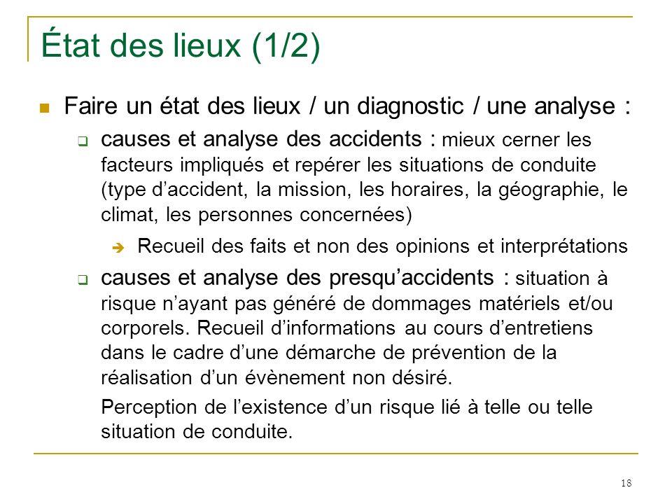 État des lieux (1/2) Faire un état des lieux / un diagnostic / une analyse :