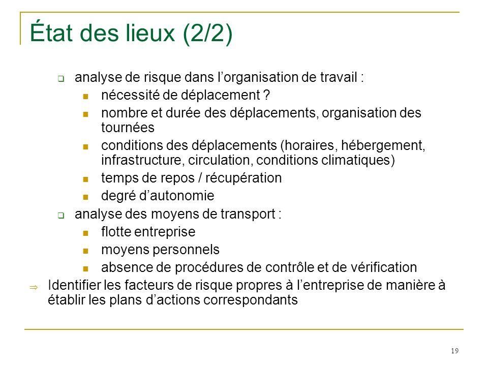 État des lieux (2/2) analyse de risque dans l'organisation de travail : nécessité de déplacement