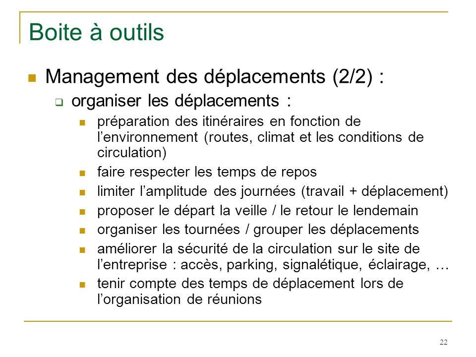 Boite à outils Management des déplacements (2/2) :