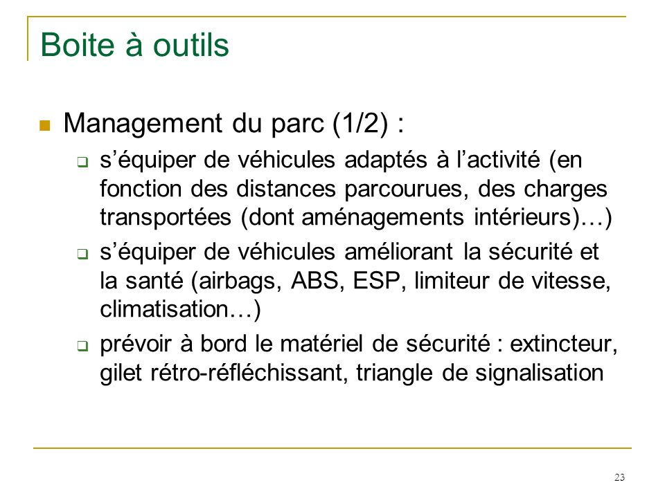 Boite à outils Management du parc (1/2) :