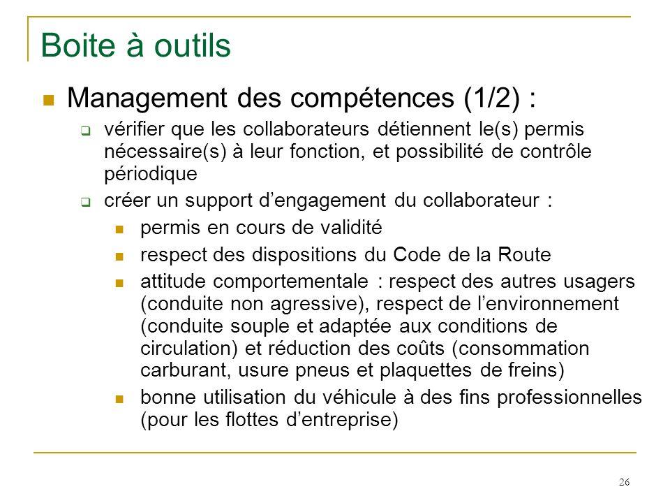 Boite à outils Management des compétences (1/2) :