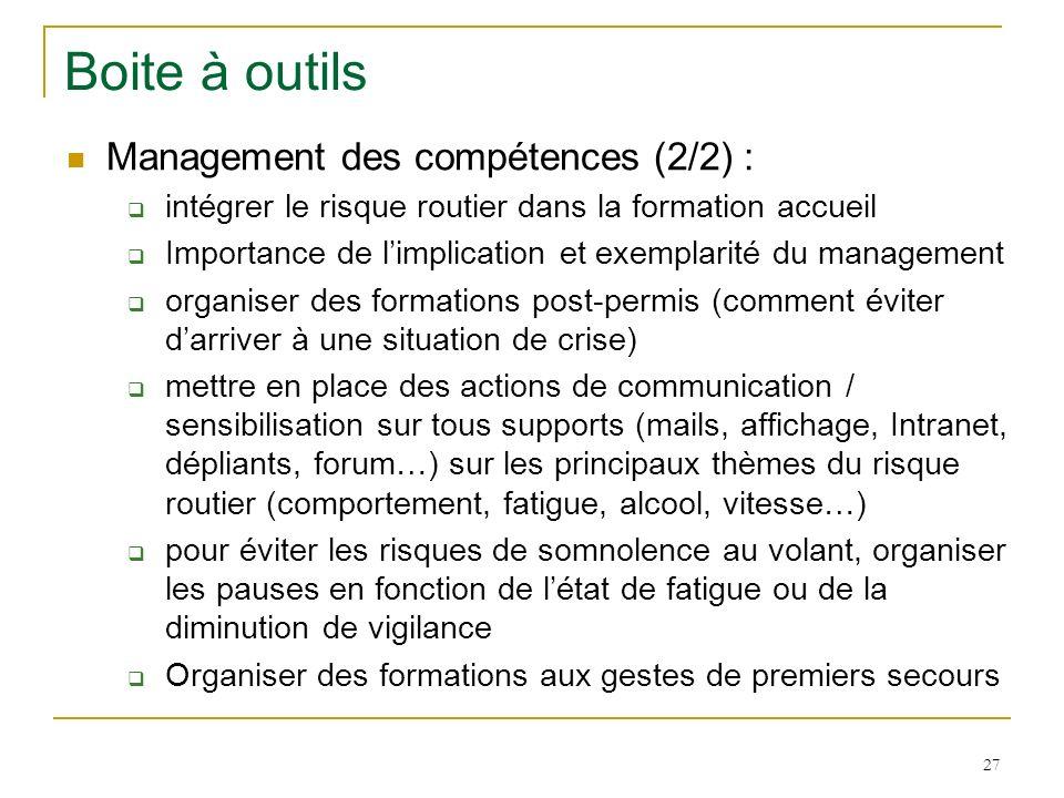 Boite à outils Management des compétences (2/2) :