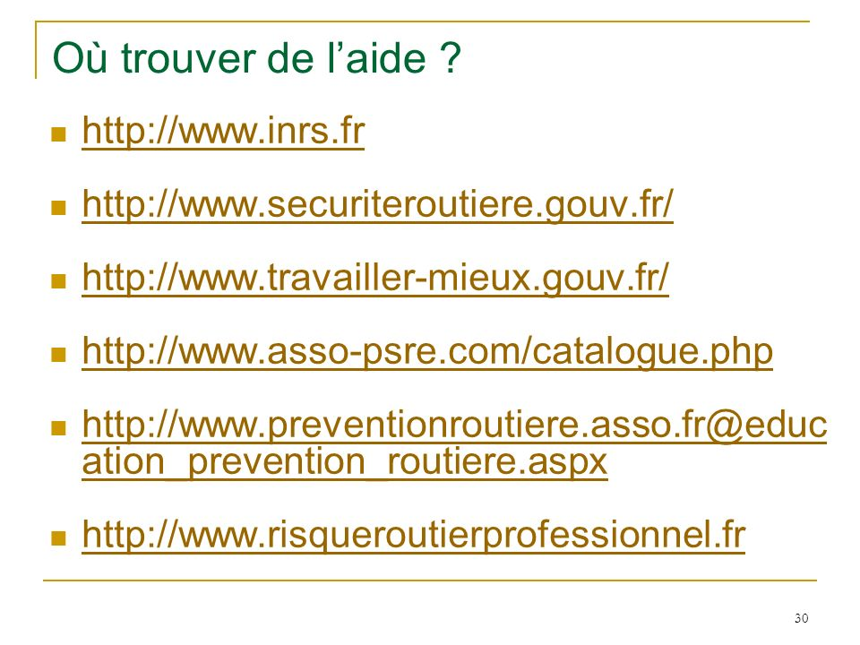 Où trouver de l'aide http://www.inrs.fr