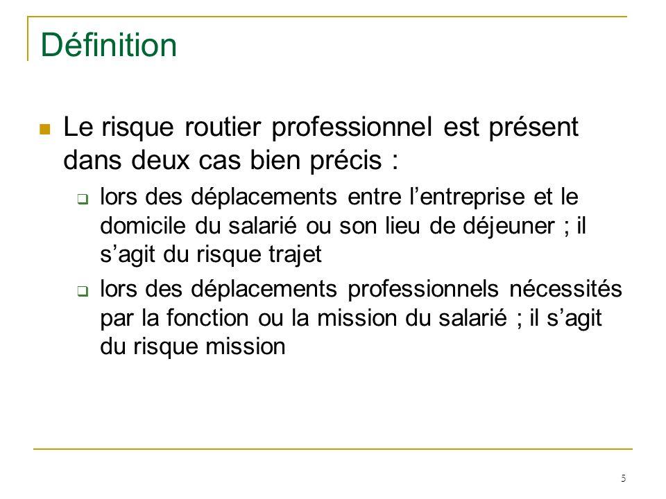 DéfinitionLe risque routier professionnel est présent dans deux cas bien précis :