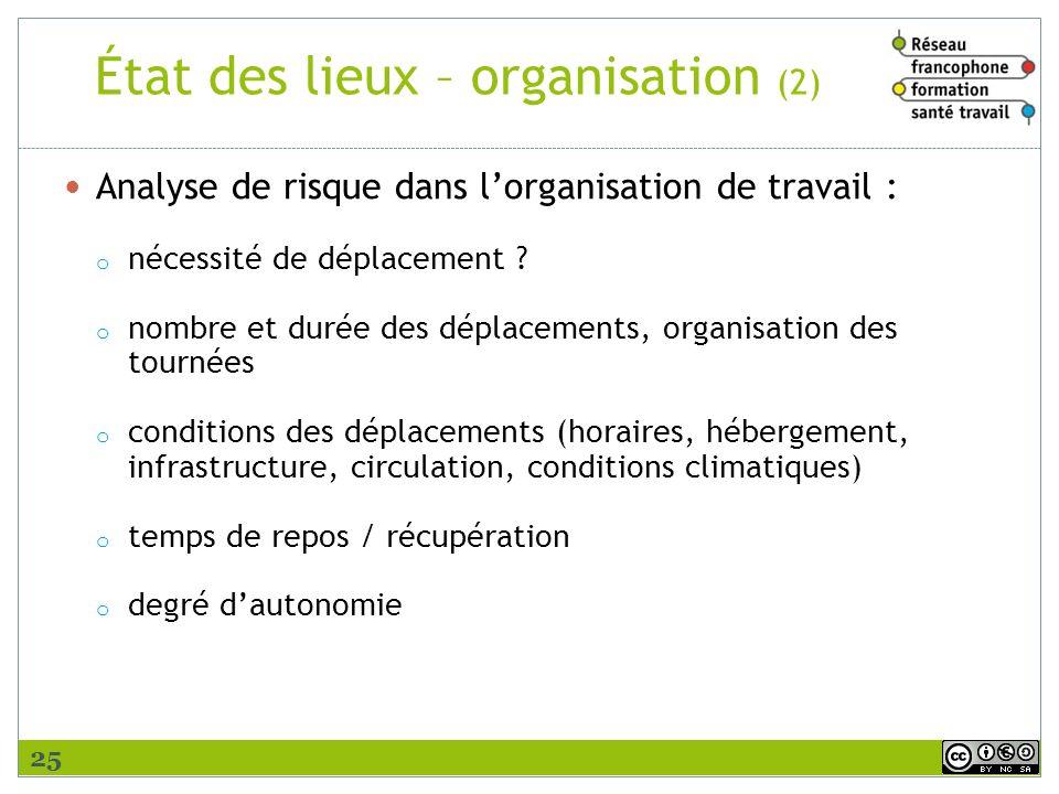 État des lieux – organisation (2)