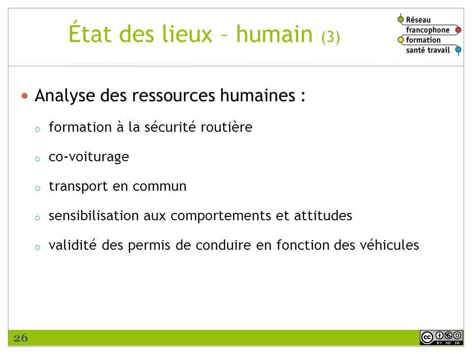 État des lieux – humain (3)