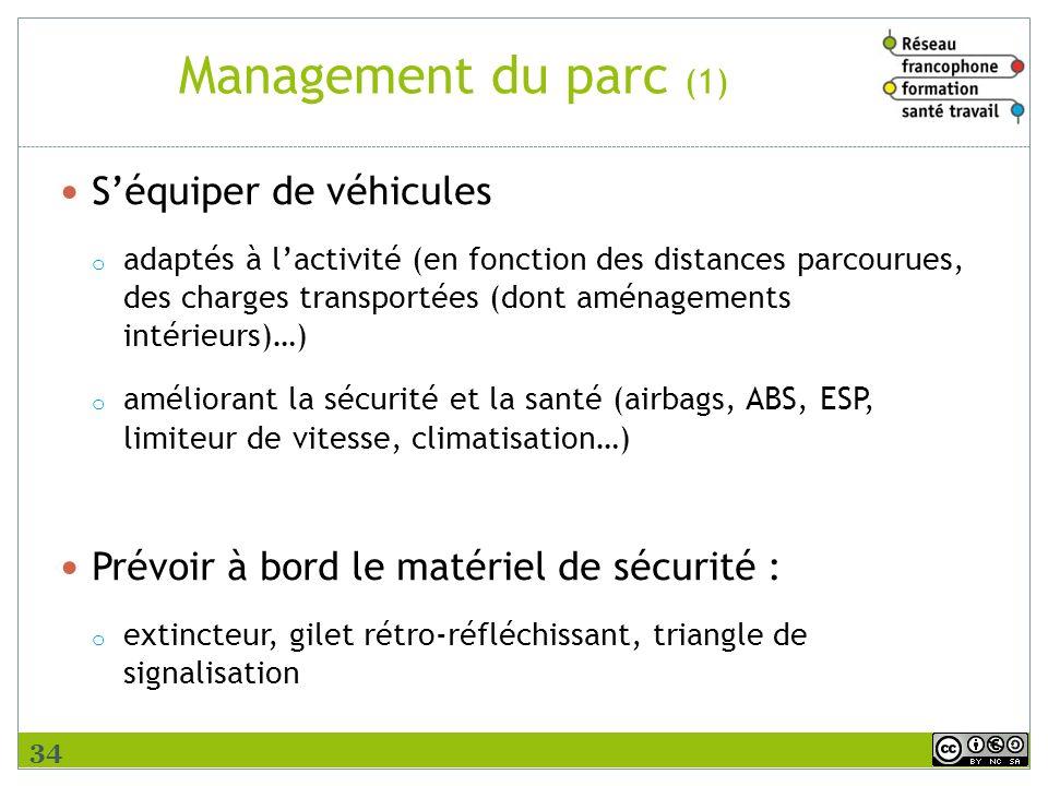 Management du parc (1) S'équiper de véhicules