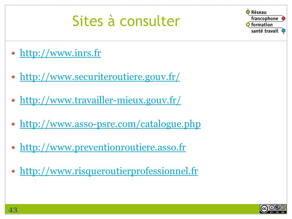 Sites à consulter http://www.inrs.fr