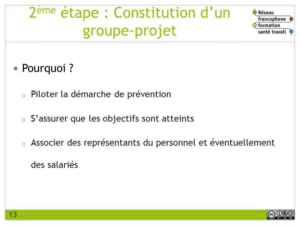 2ème étape : Constitution d'un groupe-projet