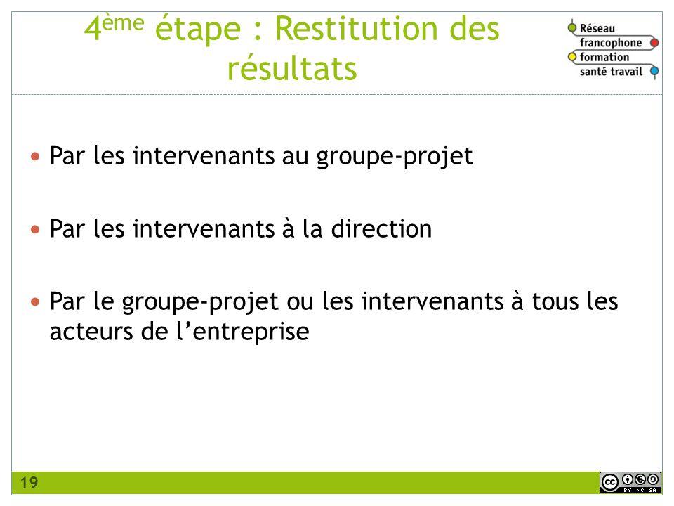 4ème étape : Restitution des résultats