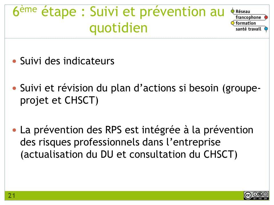 6ème étape : Suivi et prévention au quotidien