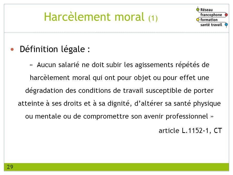 Harcèlement moral (1) Définition légale :