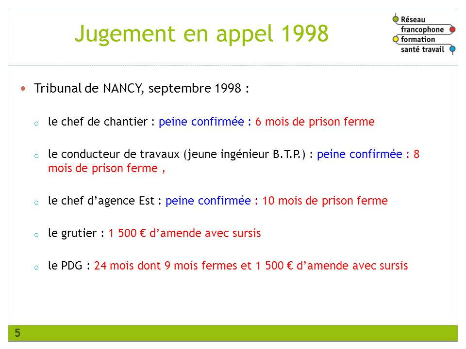 Jugement en appel 1998 Tribunal de NANCY, septembre 1998 :