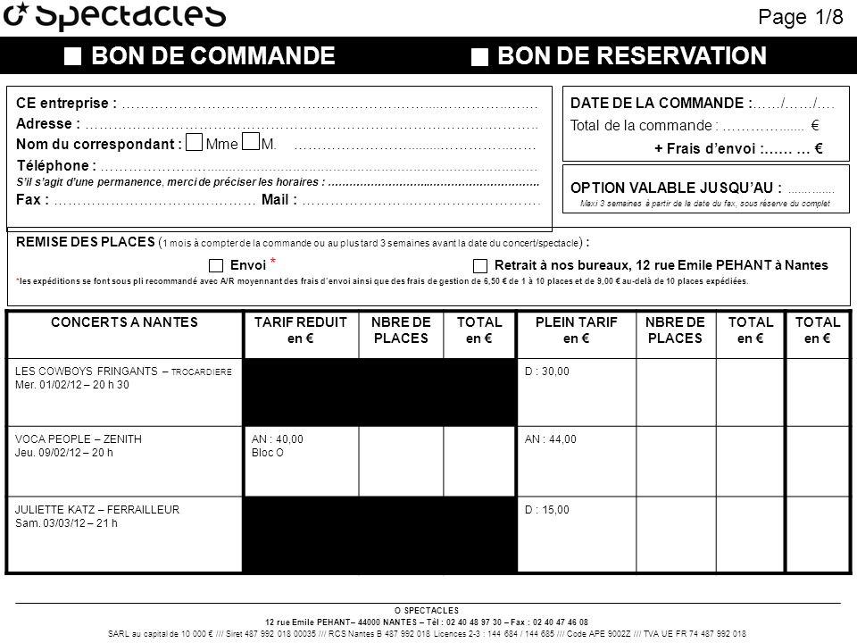 BON DE COMMANDE BON DE RESERVATION