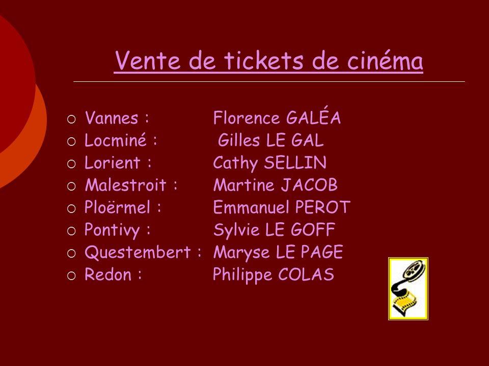 Vente de tickets de cinéma