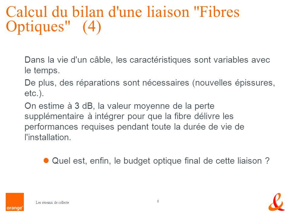 Calcul du bilan d une liaison Fibres Optiques (4)