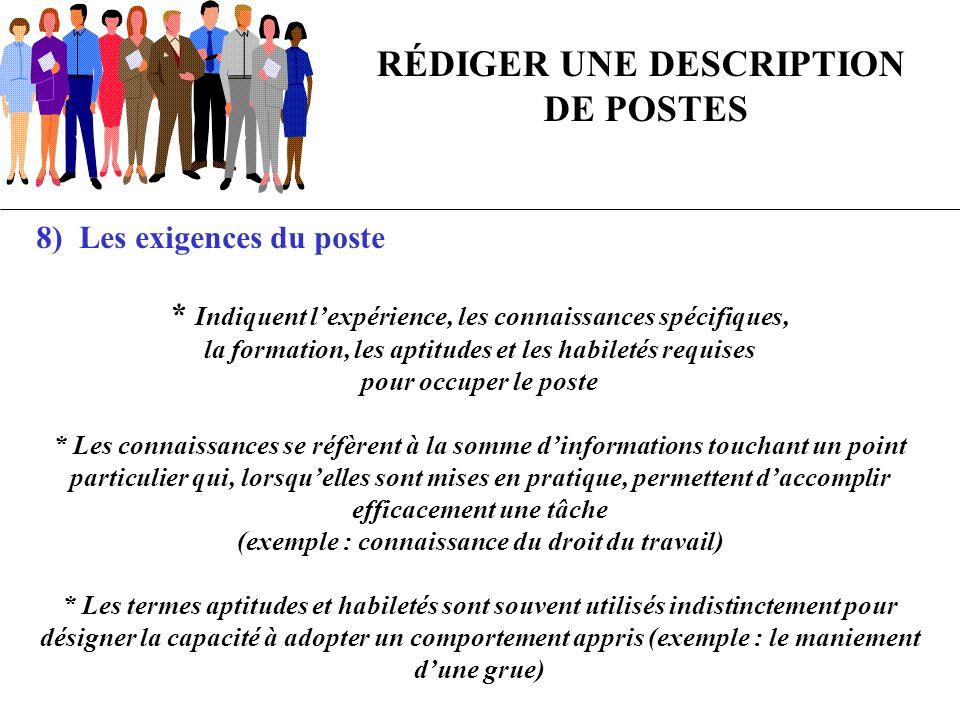 RÉDIGER UNE DESCRIPTION DE POSTES