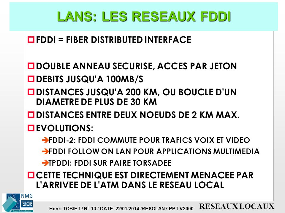 LANS: LES RESEAUX FDDI FDDI = FIBER DISTRIBUTED INTERFACE