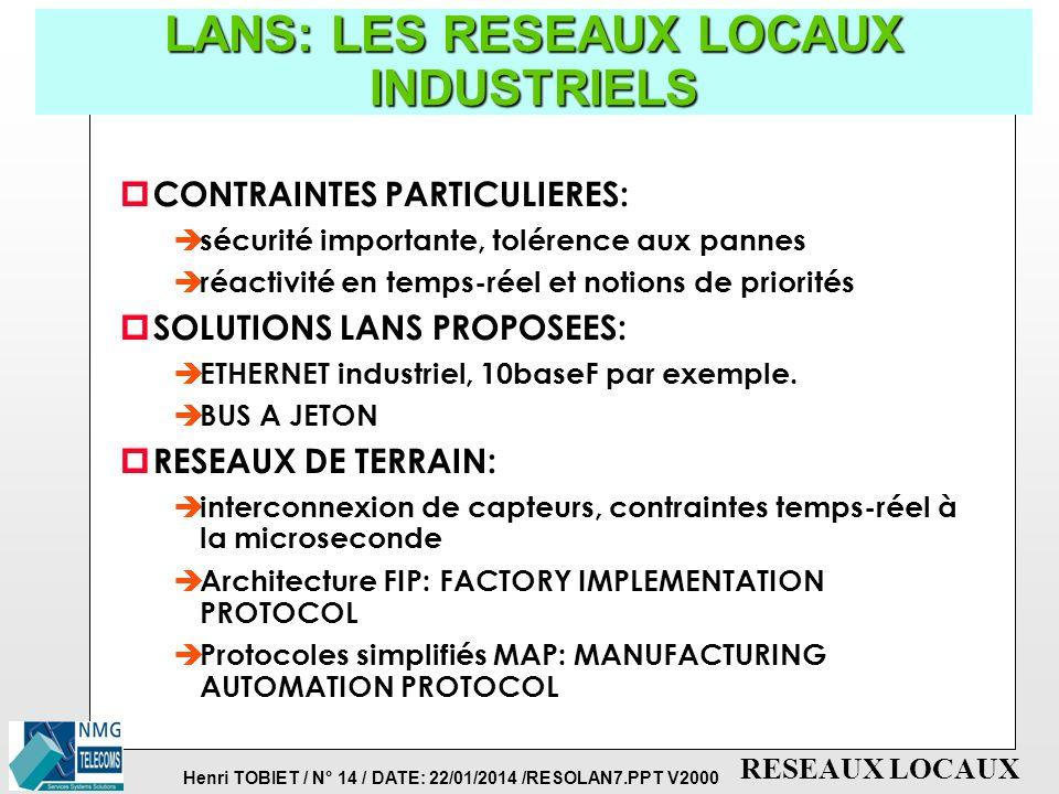 LANS: LES RESEAUX LOCAUX INDUSTRIELS