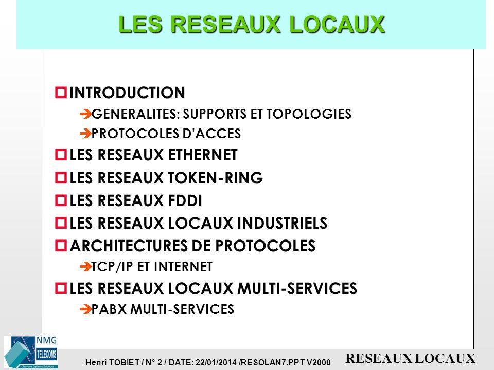 LES RESEAUX LOCAUX INTRODUCTION LES RESEAUX ETHERNET