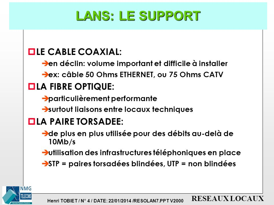 LANS: LE SUPPORT LE CABLE COAXIAL: LA FIBRE OPTIQUE:
