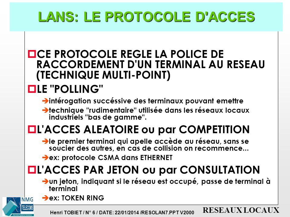 LANS: LE PROTOCOLE D ACCES