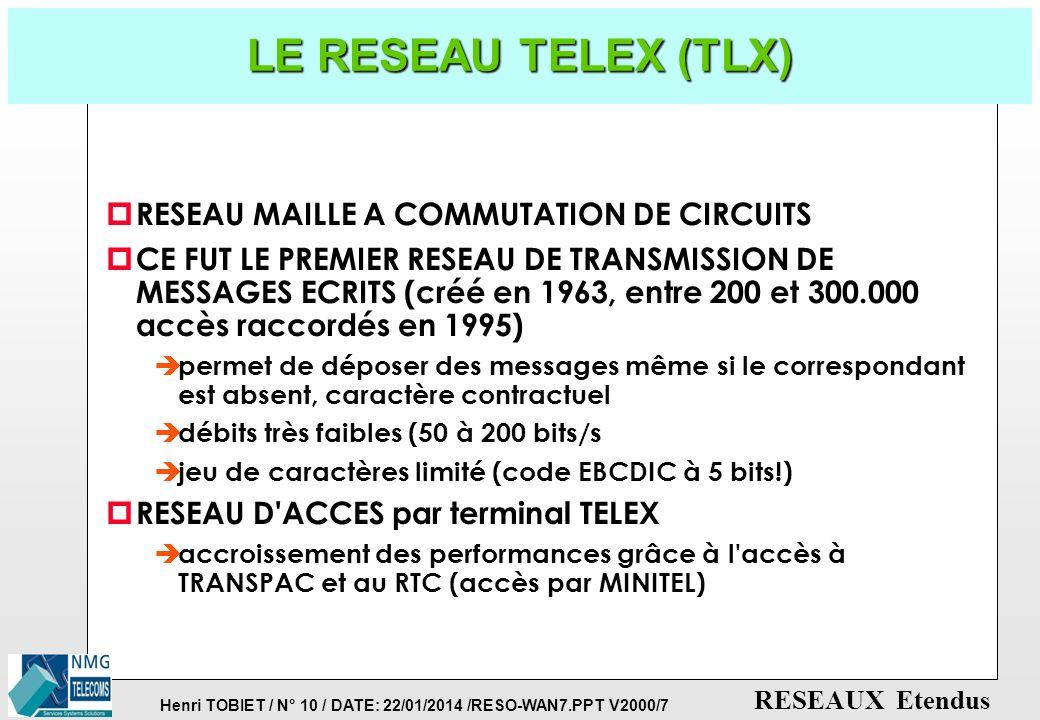 LE RESEAU TELEX (TLX) RESEAU MAILLE A COMMUTATION DE CIRCUITS