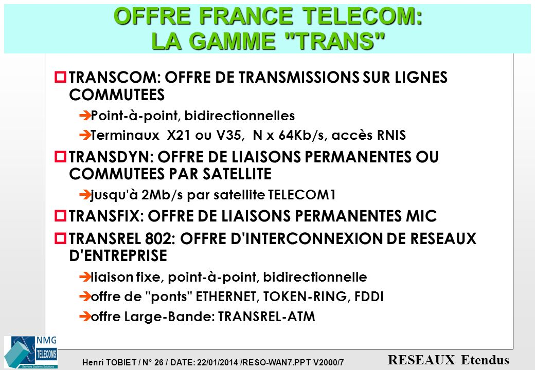 OFFRE FRANCE TELECOM: LA GAMME TRANS