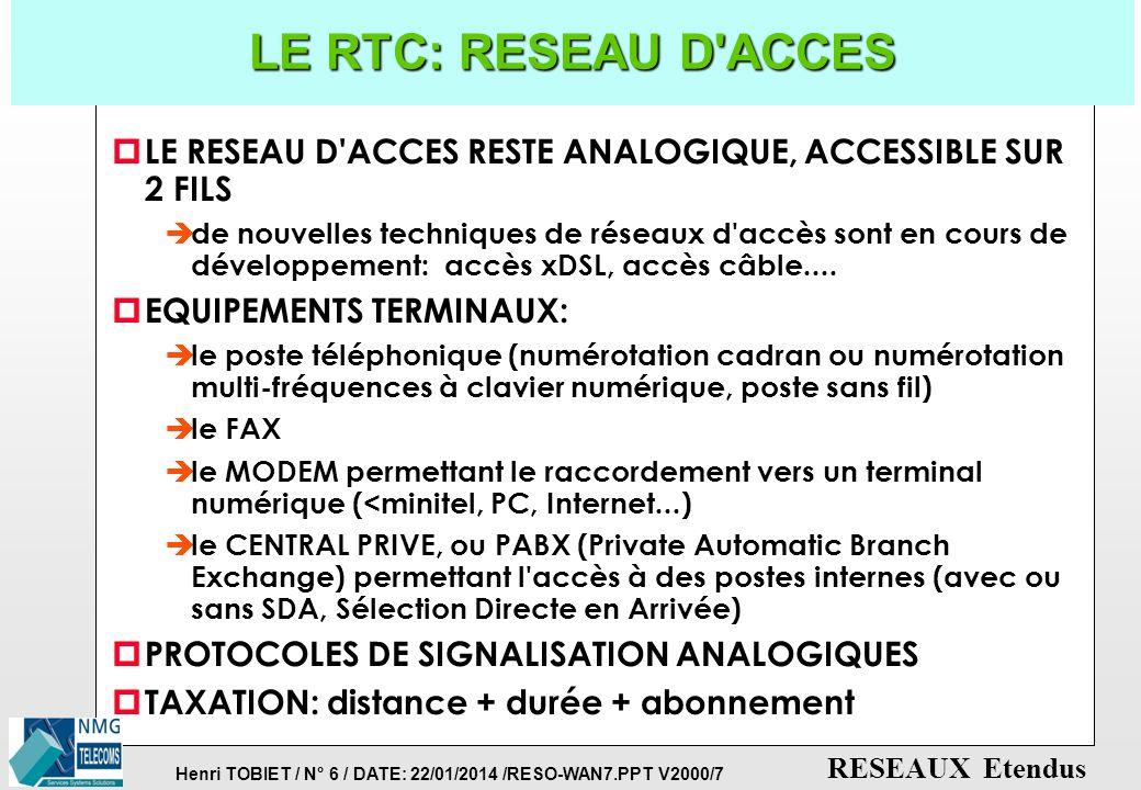 LE RTC: RESEAU D ACCES LE RESEAU D ACCES RESTE ANALOGIQUE, ACCESSIBLE SUR 2 FILS.
