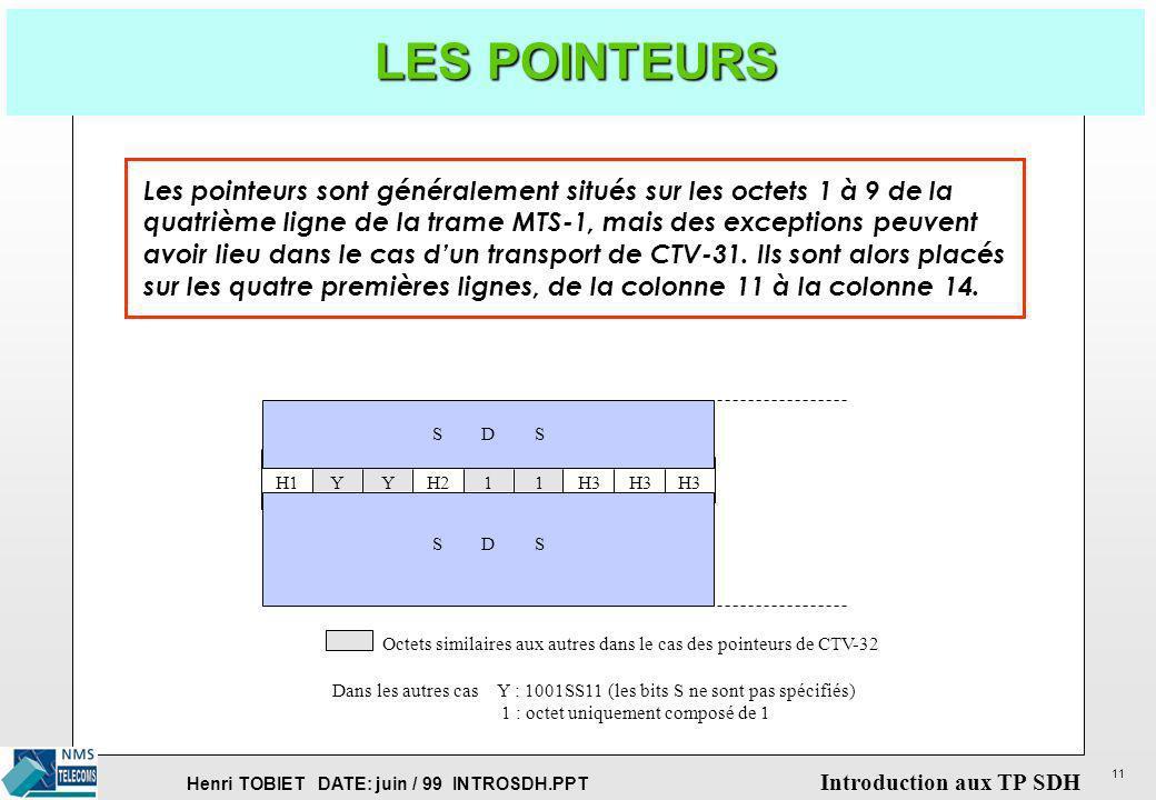 LES POINTEURSLes pointeurs sont généralement situés sur les octets 1 à 9 de la. quatrième ligne de la trame MTS-1, mais des exceptions peuvent.