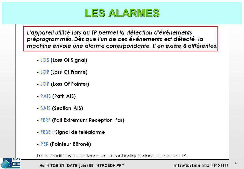 LES ALARMESL appareil utilisé lors du TP permet la détection d événements. préprogrammés. Dès que l un de ces événements est détecté, la.