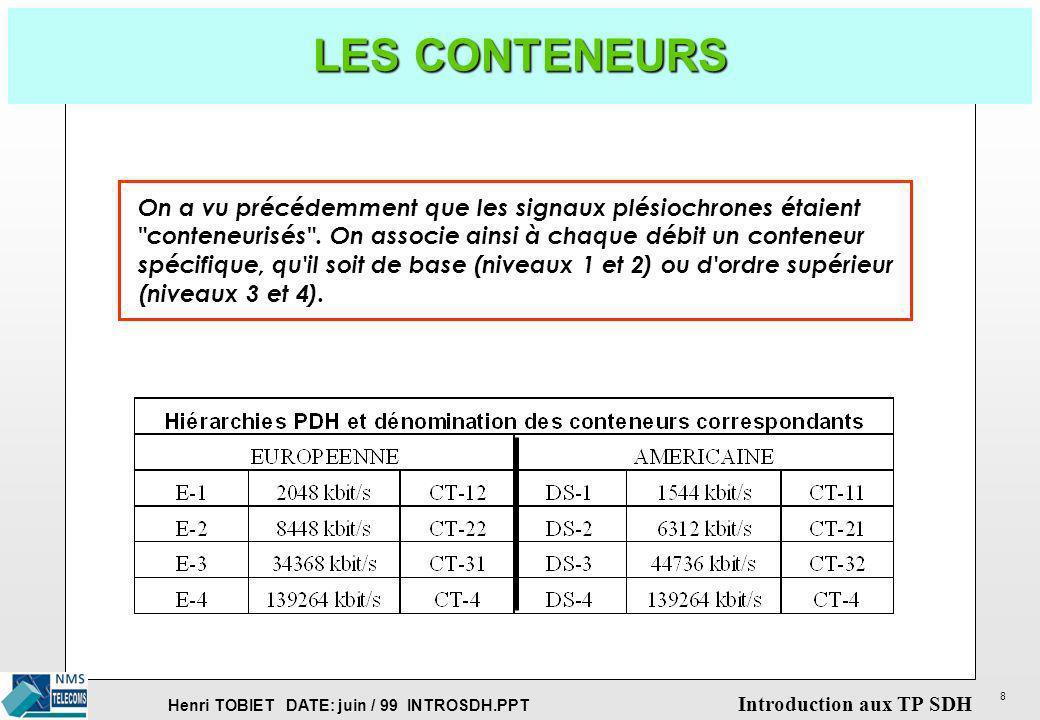 LES CONTENEURSOn a vu précédemment que les signaux plésiochrones étaient. conteneurisés . On associe ainsi à chaque débit un conteneur.