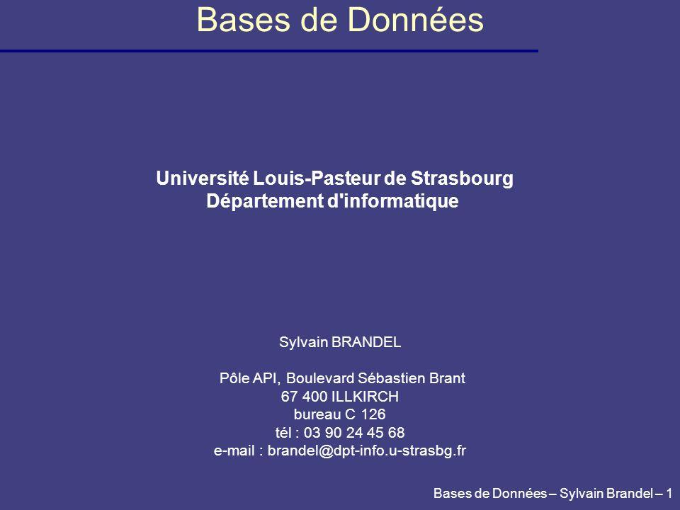 Université Louis-Pasteur de Strasbourg Département d informatique