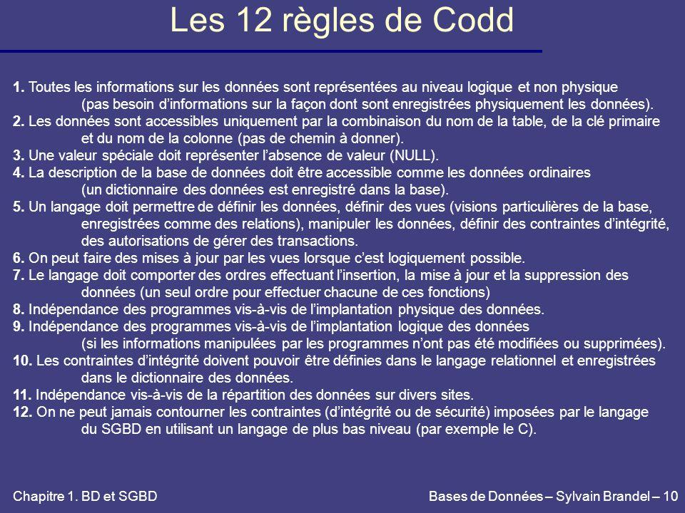 Les 12 règles de Codd 1. Toutes les informations sur les données sont représentées au niveau logique et non physique.