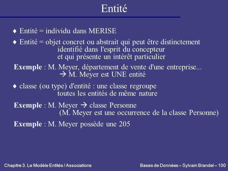 Entité  Entité = individu dans MERISE