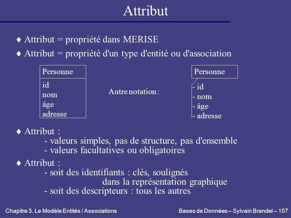 Attribut  Attribut = propriété dans MERISE