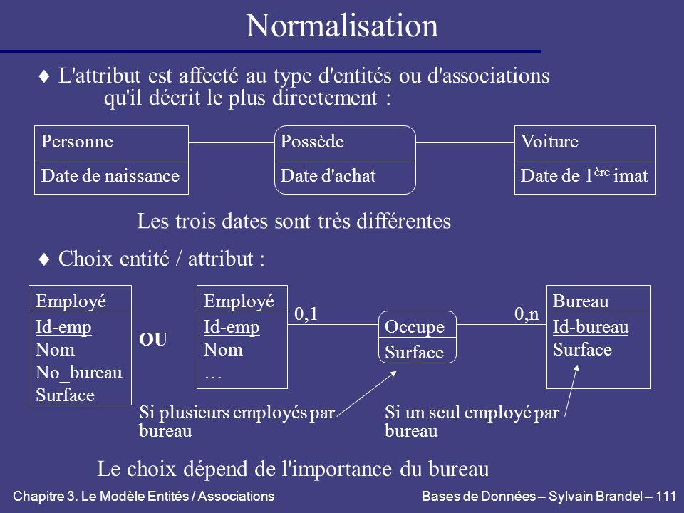 Normalisation L attribut est affecté au type d entités ou d associations. qu il décrit le plus directement :