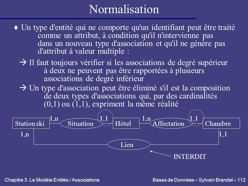 Normalisation Un type d entité qui ne comporte qu un identifiant peut être traité. comme un attribut, à condition qu il n intervienne pas.