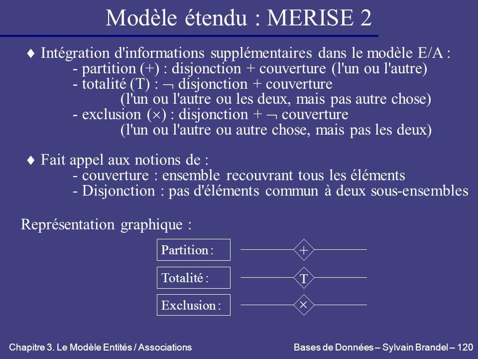 Modèle étendu : MERISE 2  Intégration d informations supplémentaires dans le modèle E/A :