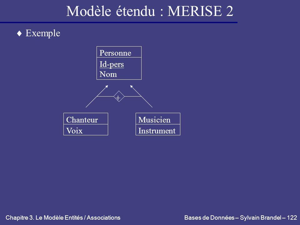 Modèle étendu : MERISE 2  Exemple Personne Id-pers Nom + Chanteur