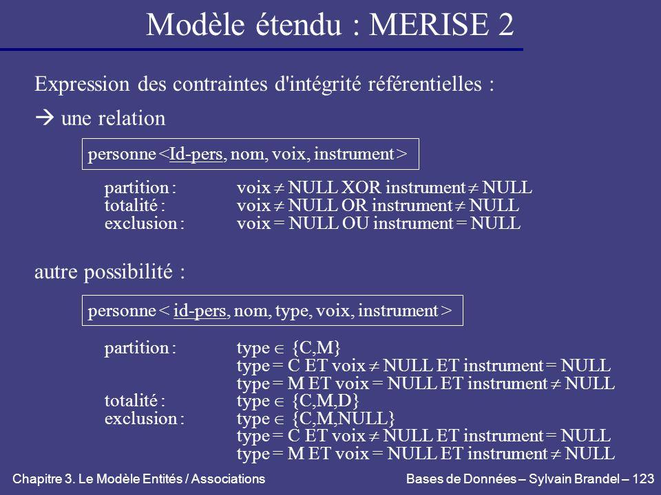 Modèle étendu : MERISE 2 Expression des contraintes d intégrité référentielles :  une relation. personne <Id-pers, nom, voix, instrument >