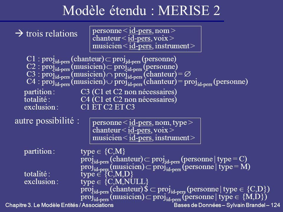 Modèle étendu : MERISE 2  trois relations autre possibilité :