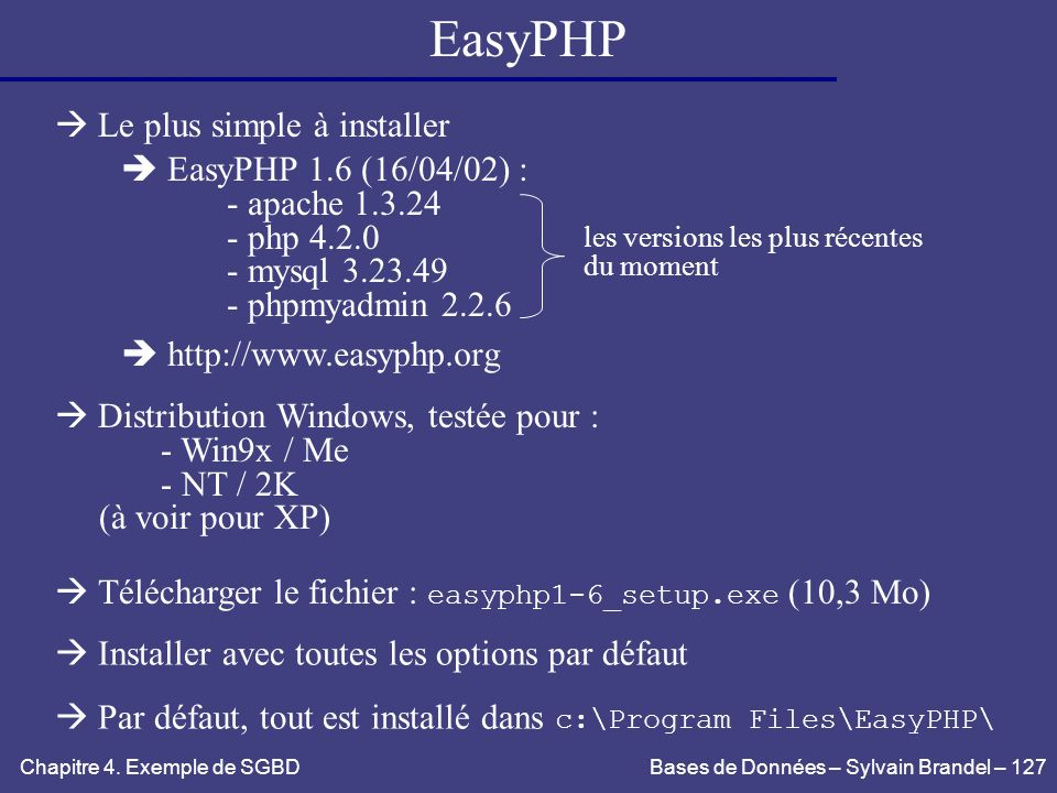 EasyPHP  Le plus simple à installer  EasyPHP 1.6 (16/04/02) :