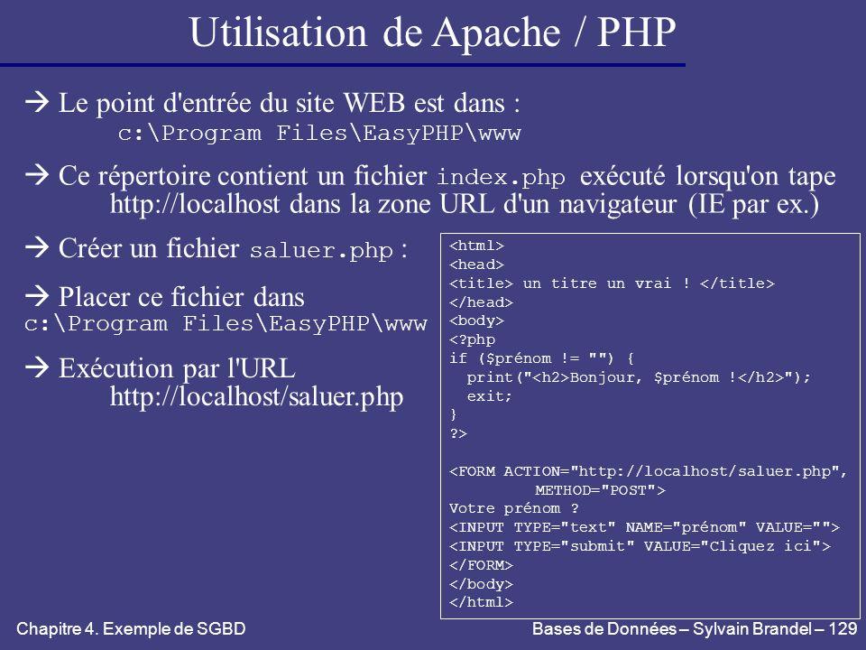 Utilisation de Apache / PHP