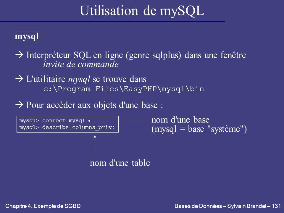 Utilisation de mySQL mysql